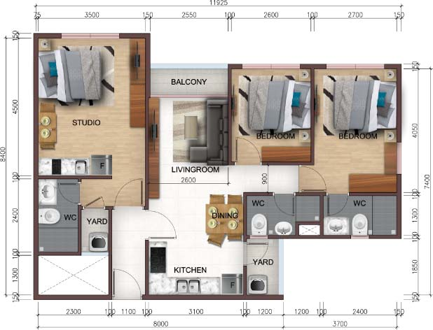 Căn hộ City Gate 5 3 Phòng Ngủ